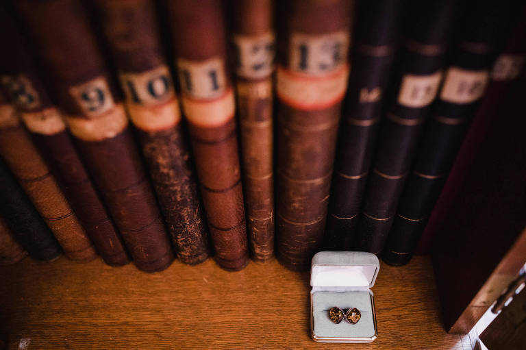 Montreal Wedding Photography Dorval Forest Stream Club Brent Calis Photography groom cufflinks old books detail