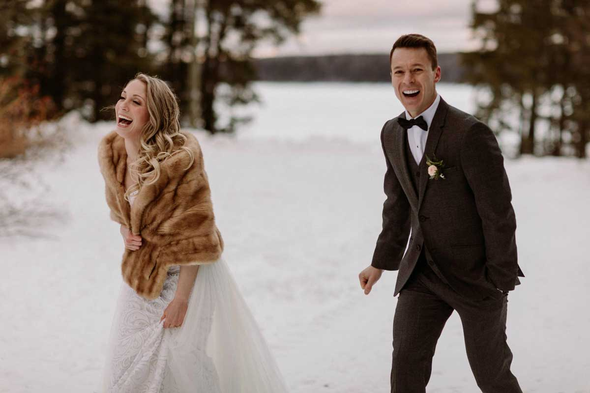 Kelley And Benjamin S Winter Wedding At Auberge Du Lac Taureau In Quebec B Calis Photography