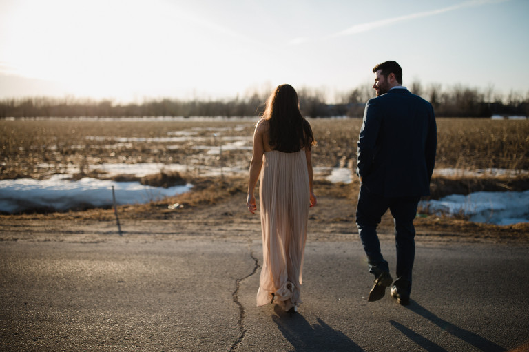 Canadian Engagement Golden Hour Quebec Montreal Wedding Photographer Golden light bokeh mark iv