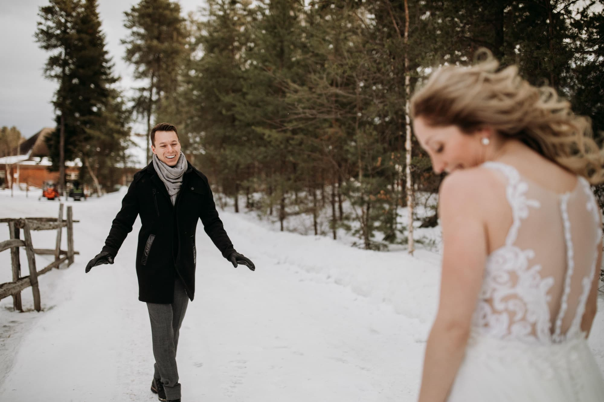 bride groom cold first look