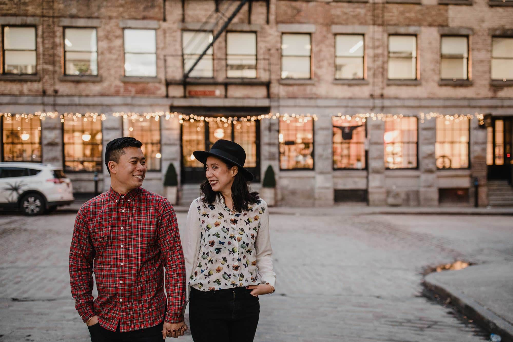 Wedding Photographer Montreal Engagement Street Pose Hipster couple