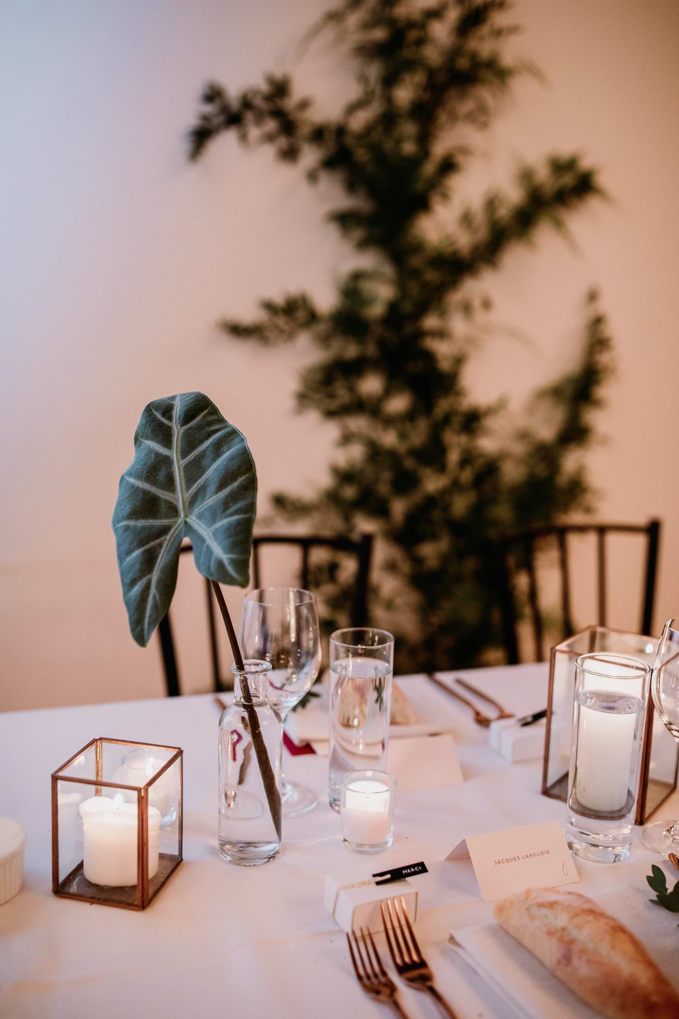 A floral by fleuriste astilbe at a wedding reception