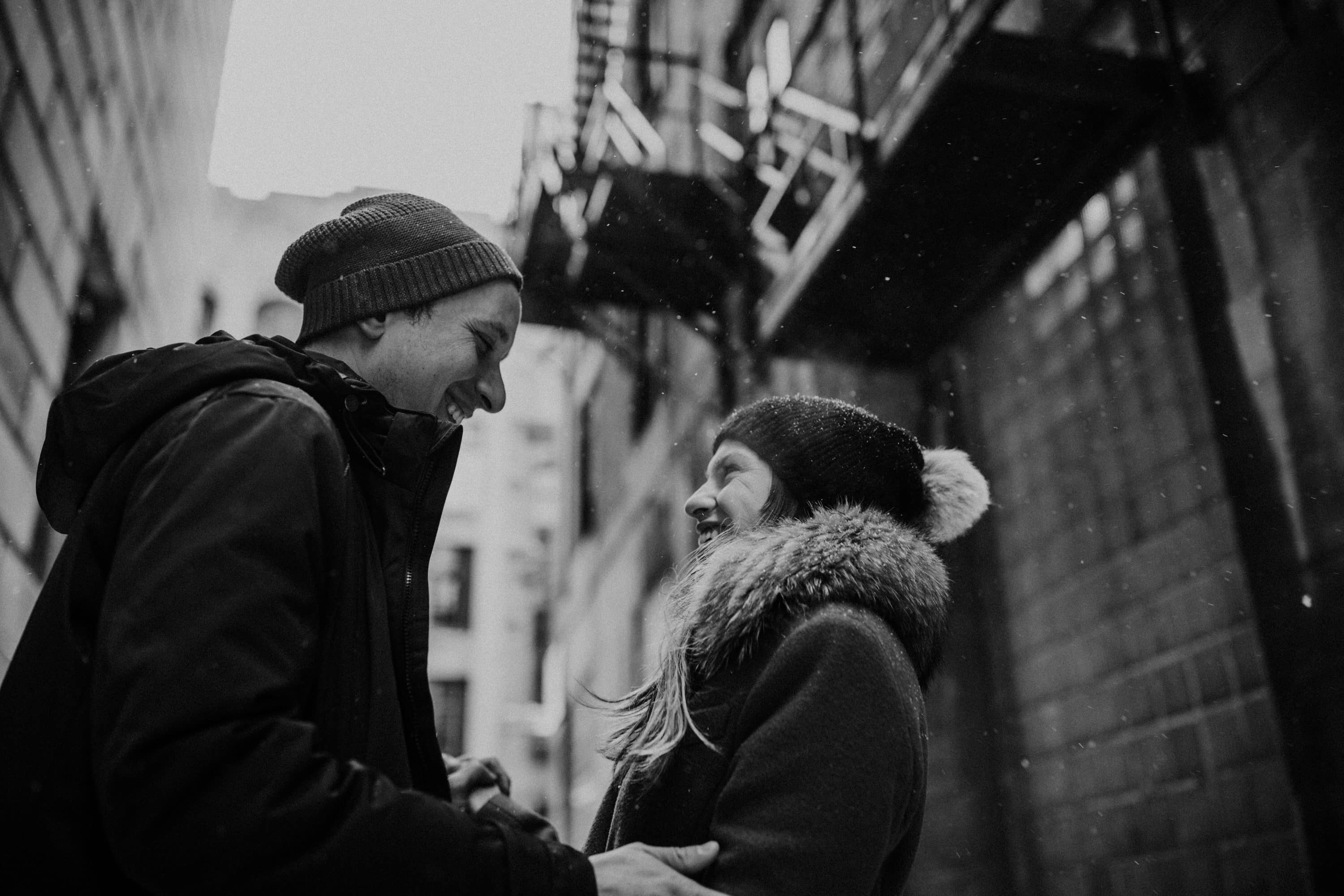 Urban winter engagement session in old port Montreal with Montreal photographer Brent Calis.