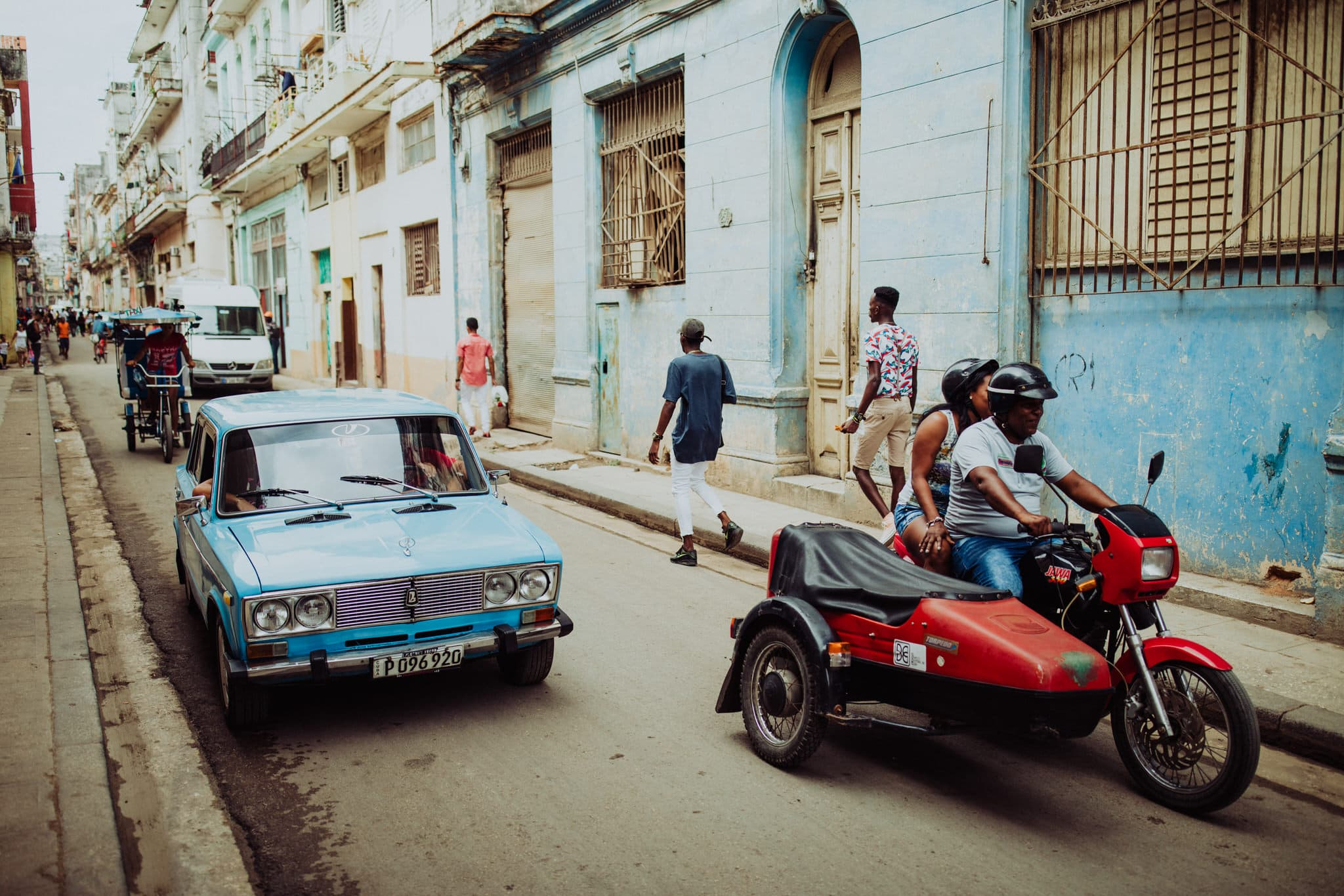 A blue Lada in Havana, one of the classic cars of cuba. Travel photographer Brent Calis.