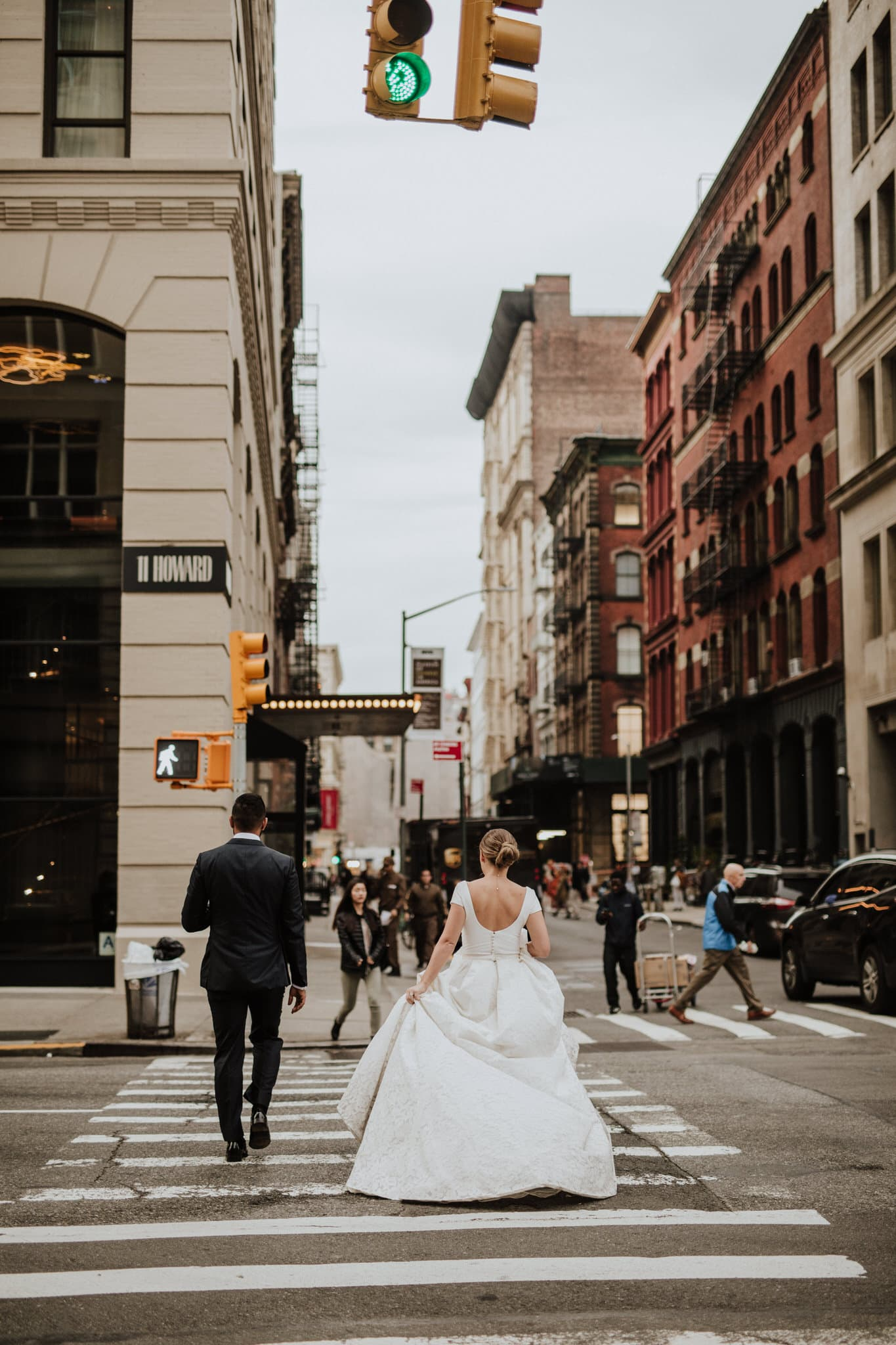 The bride and groom during their New York City Elopement. Wedding Photographer Brent Calis.