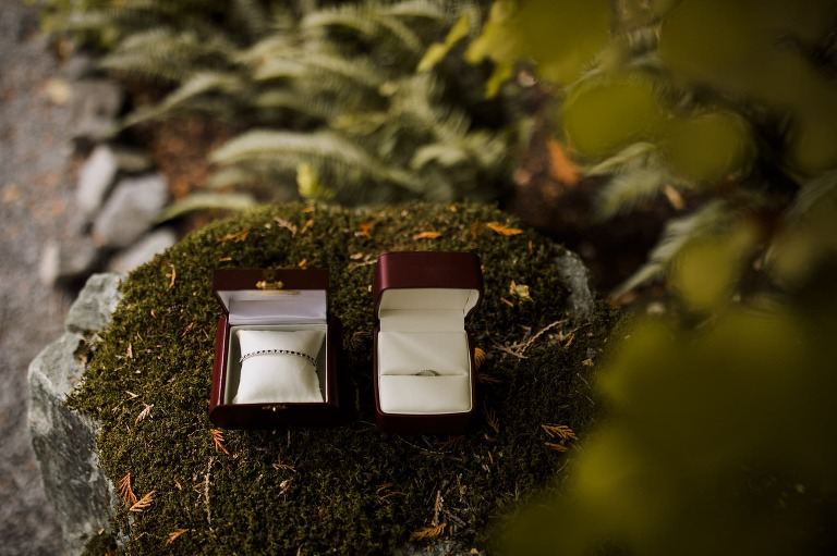Wedding jewellery sitting on moss in the forests of Whistler Mountain. Destination wedding photographer Brent Calis.
