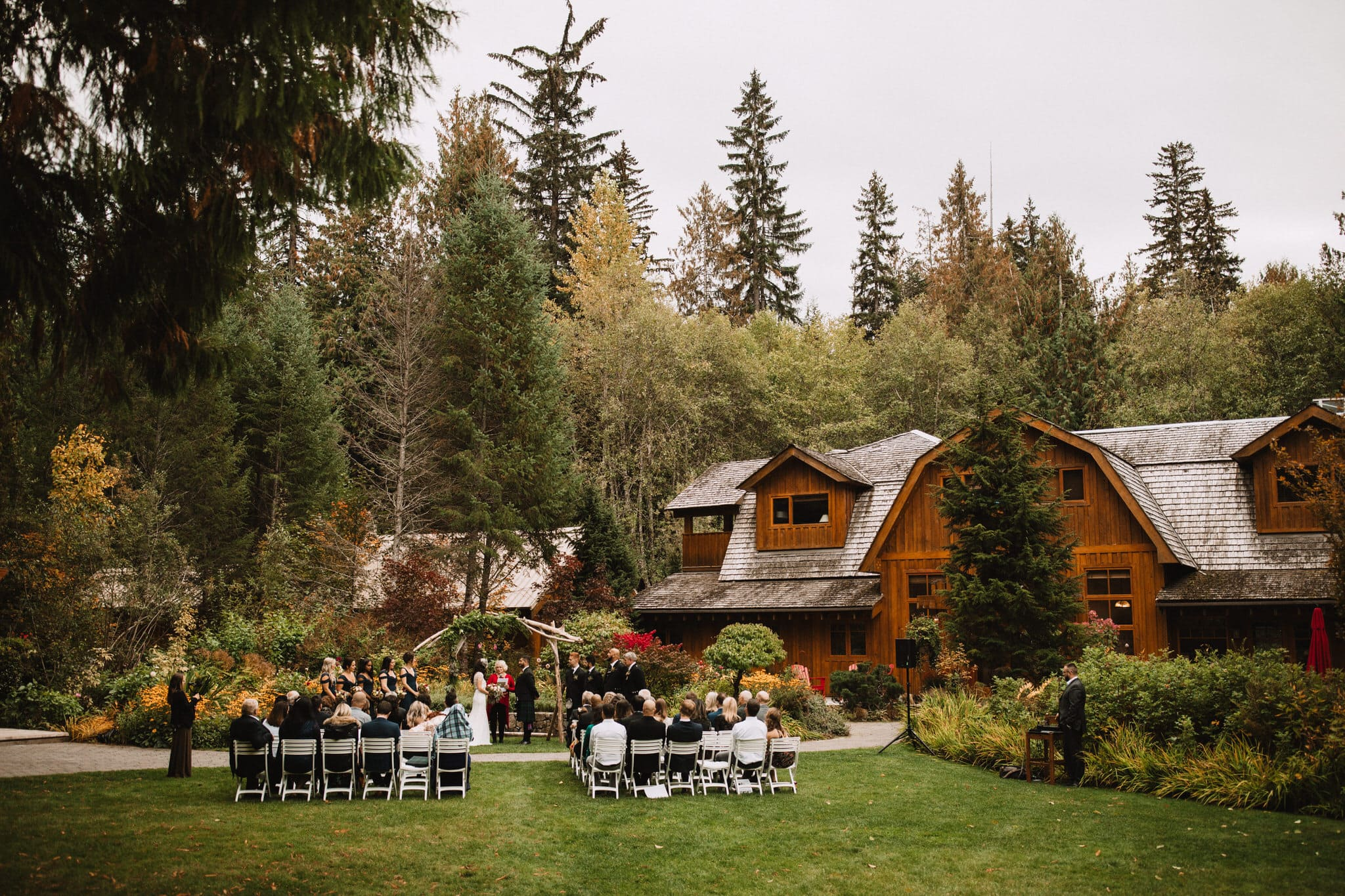 Forest wedding in the moutains at The Brew Creek Centre in Whistler. Destination wedding photographer Brent Calis.