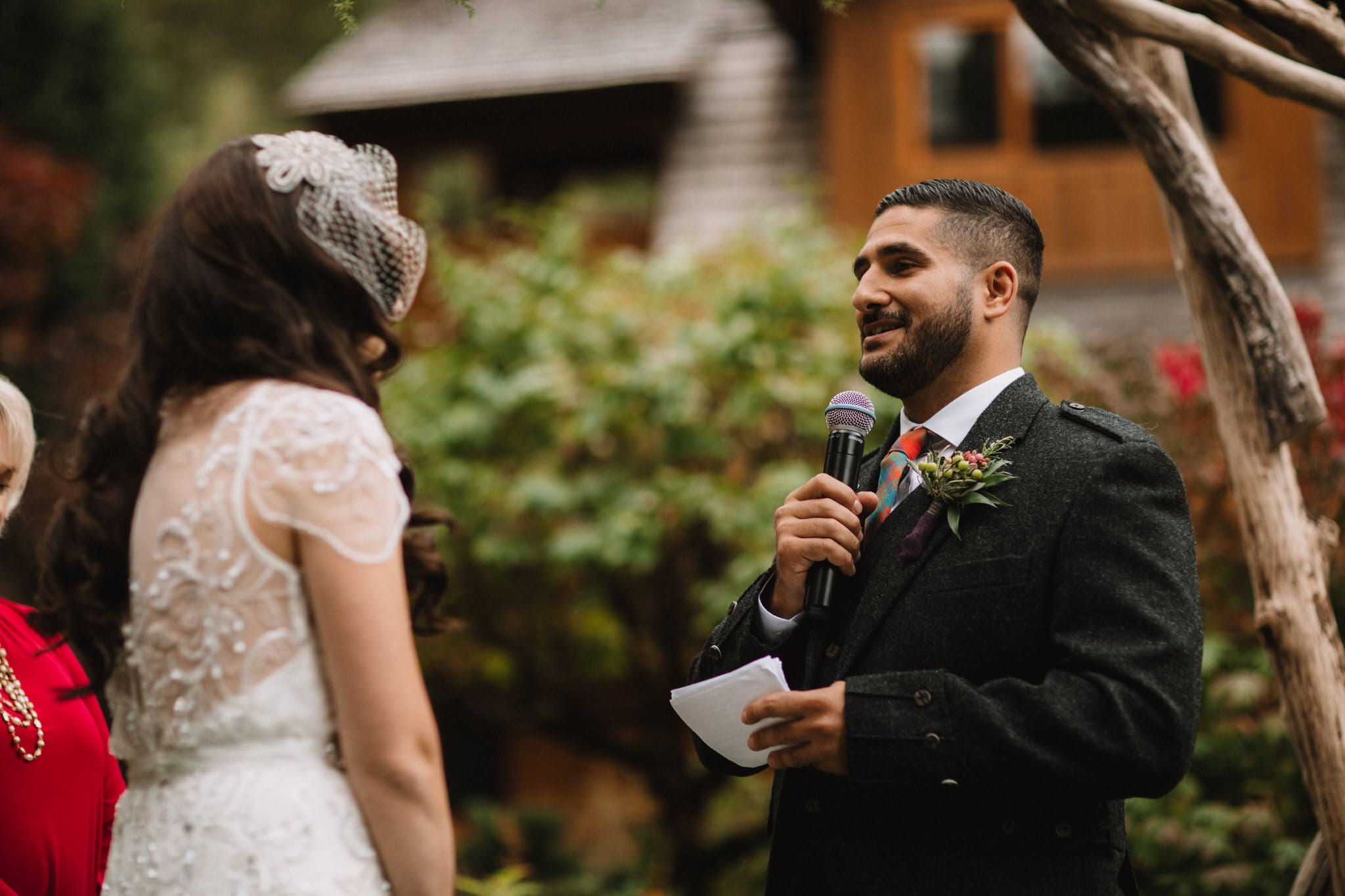 Grooms vows at Whistler wedding. Destination wedding photographer Brent Calis.
