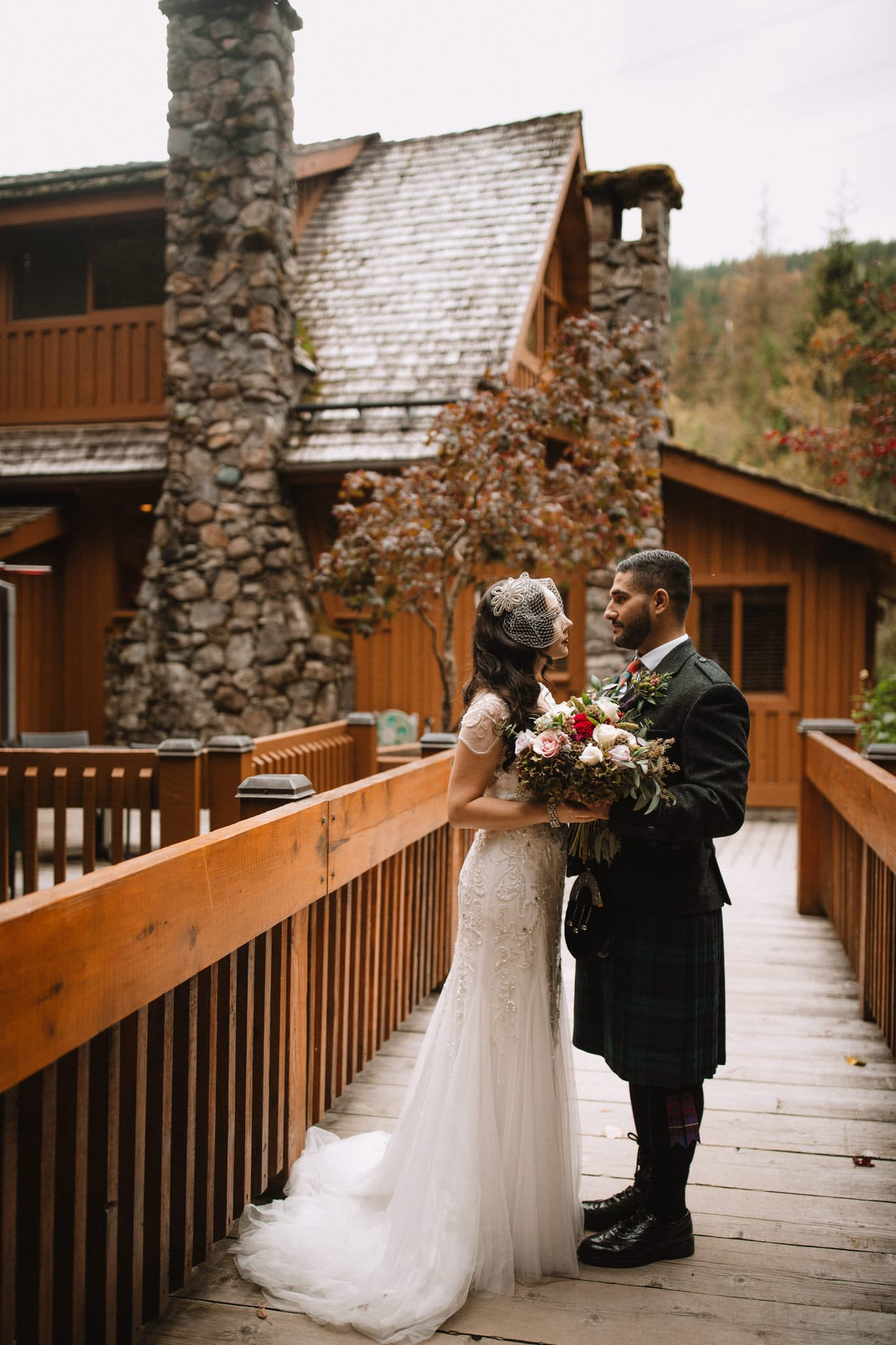 Bride and groom at The Brew Creek Centre in Whistler. Destination wedding photographer Brent Calis.