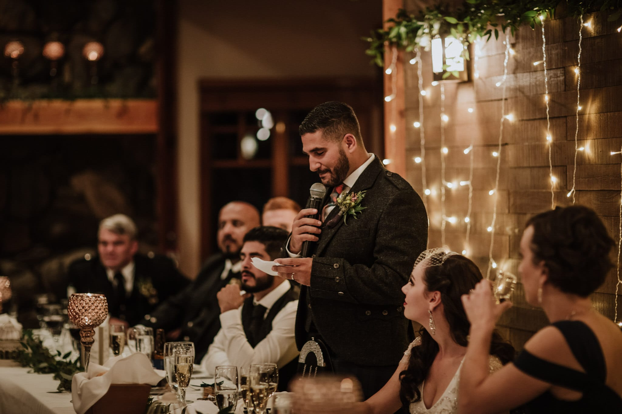 Grooms speech during wedding reception at Brew Creek Centre Whistler. Destination wedding photographer Brent Calis.