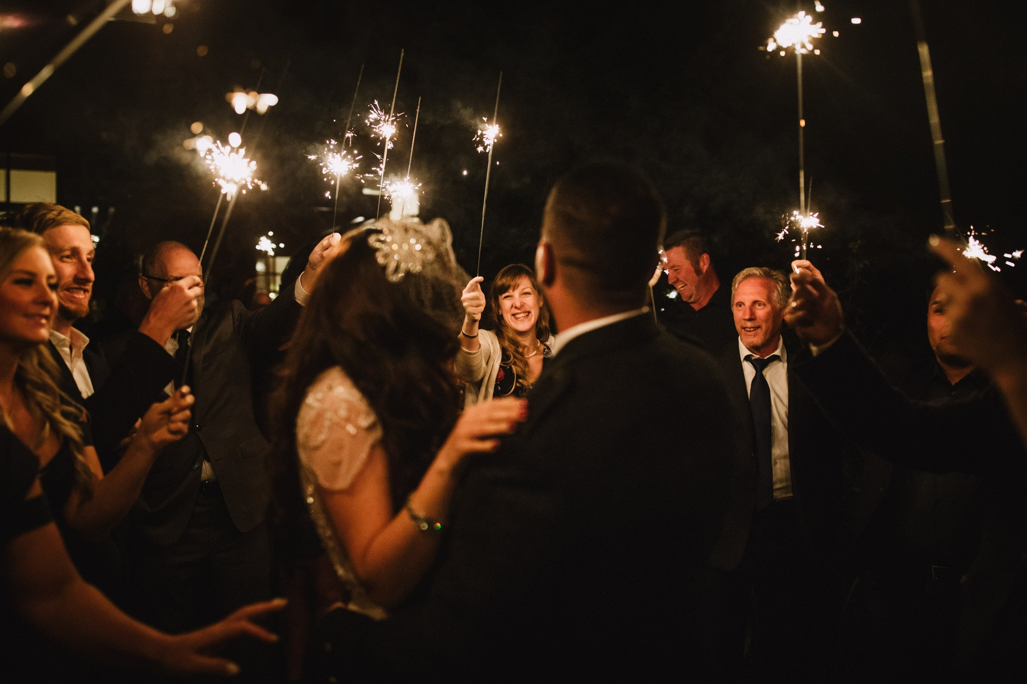 Wedding sparklers at Brew Creek Centre Whistler. Destination wedding photographer Brent Calis.