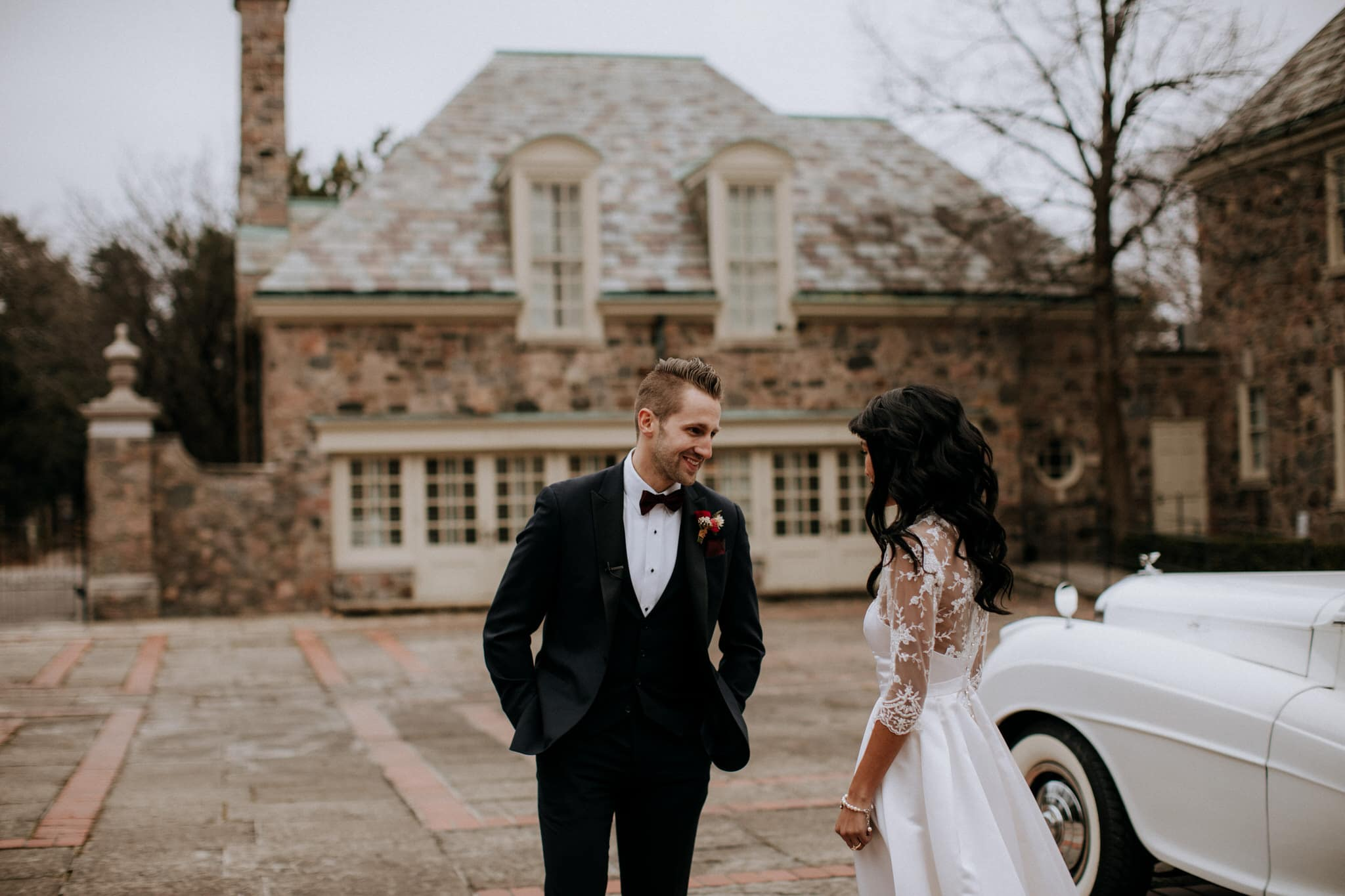 Bride and groom first look at Graydon Hall Manor Wedding in Toronto