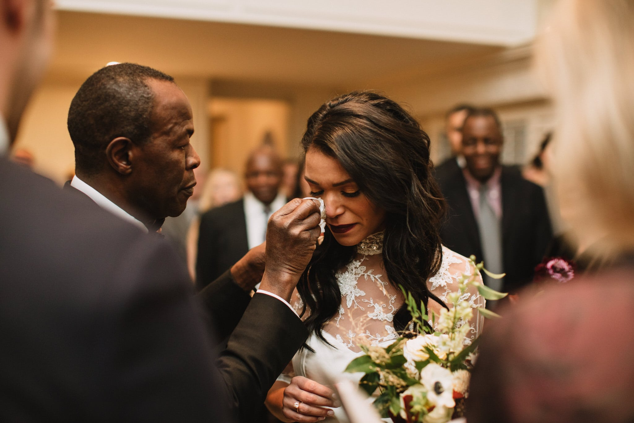 Father wipes brides tears at Graydon Hall Manor Wedding in Toronto