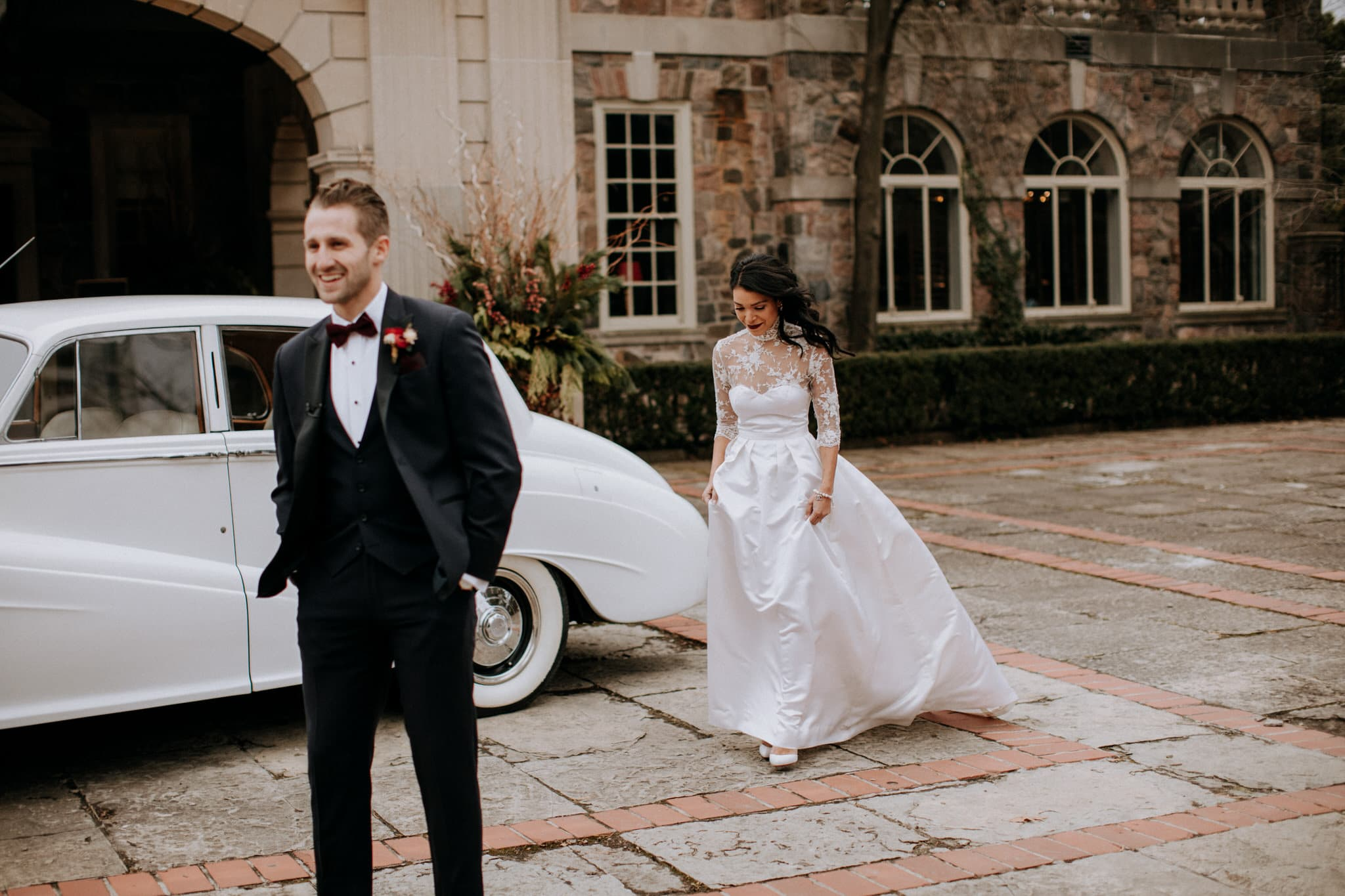 First look before their Graydon Hall Manor wedding in Toronto