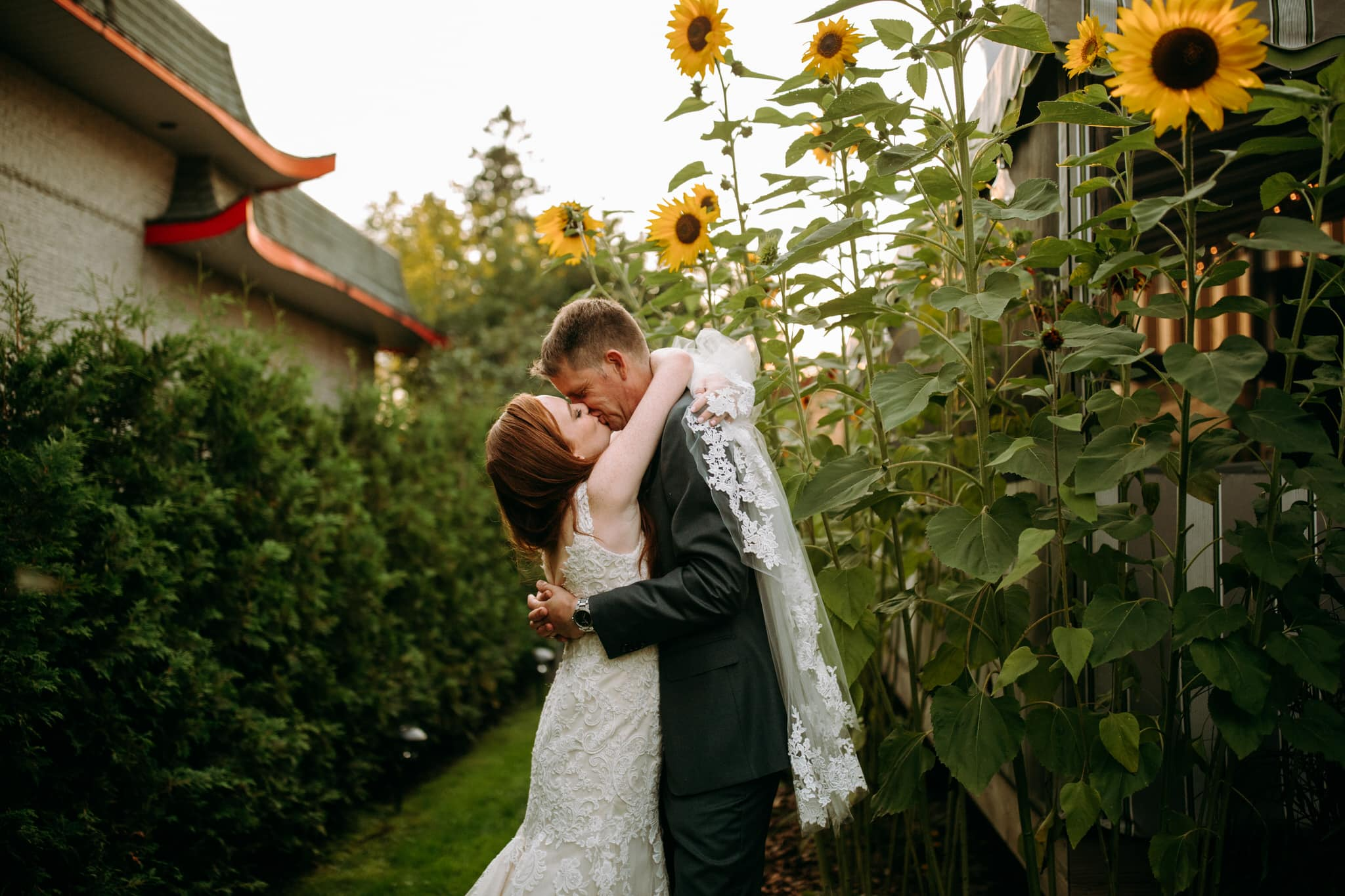 Restaurant wedding at Maison 1890 - bride and groom kissing near sunflowers- Wedding Photographer Brent Calis
