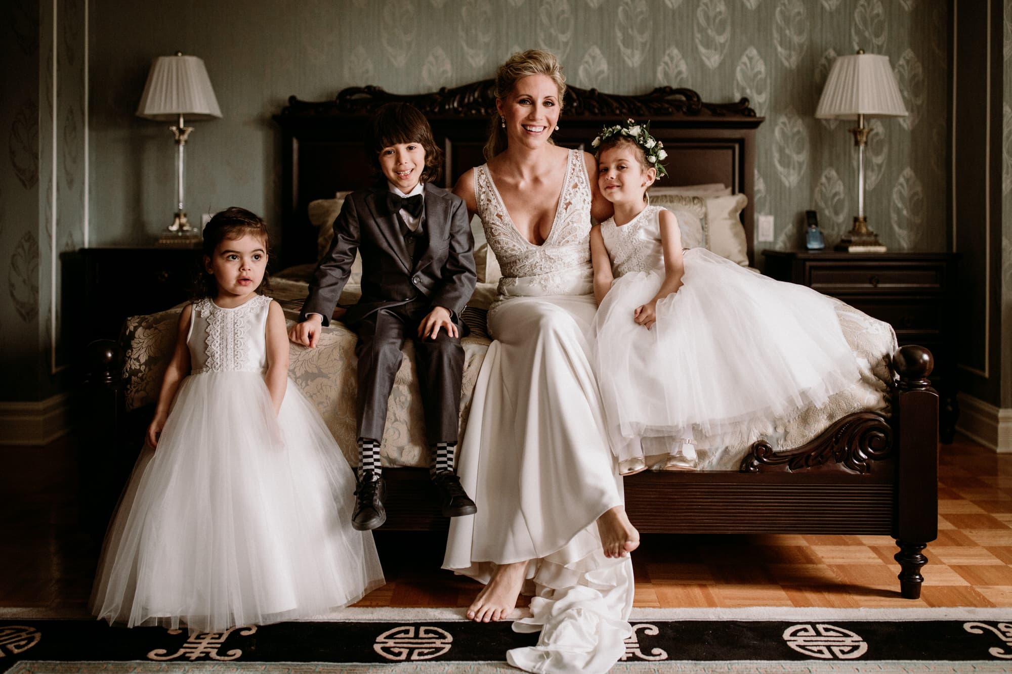 Entrepots Dominion Wedding In Montreal - Bride with flower girls - Wedding Photographer Brent Calis
