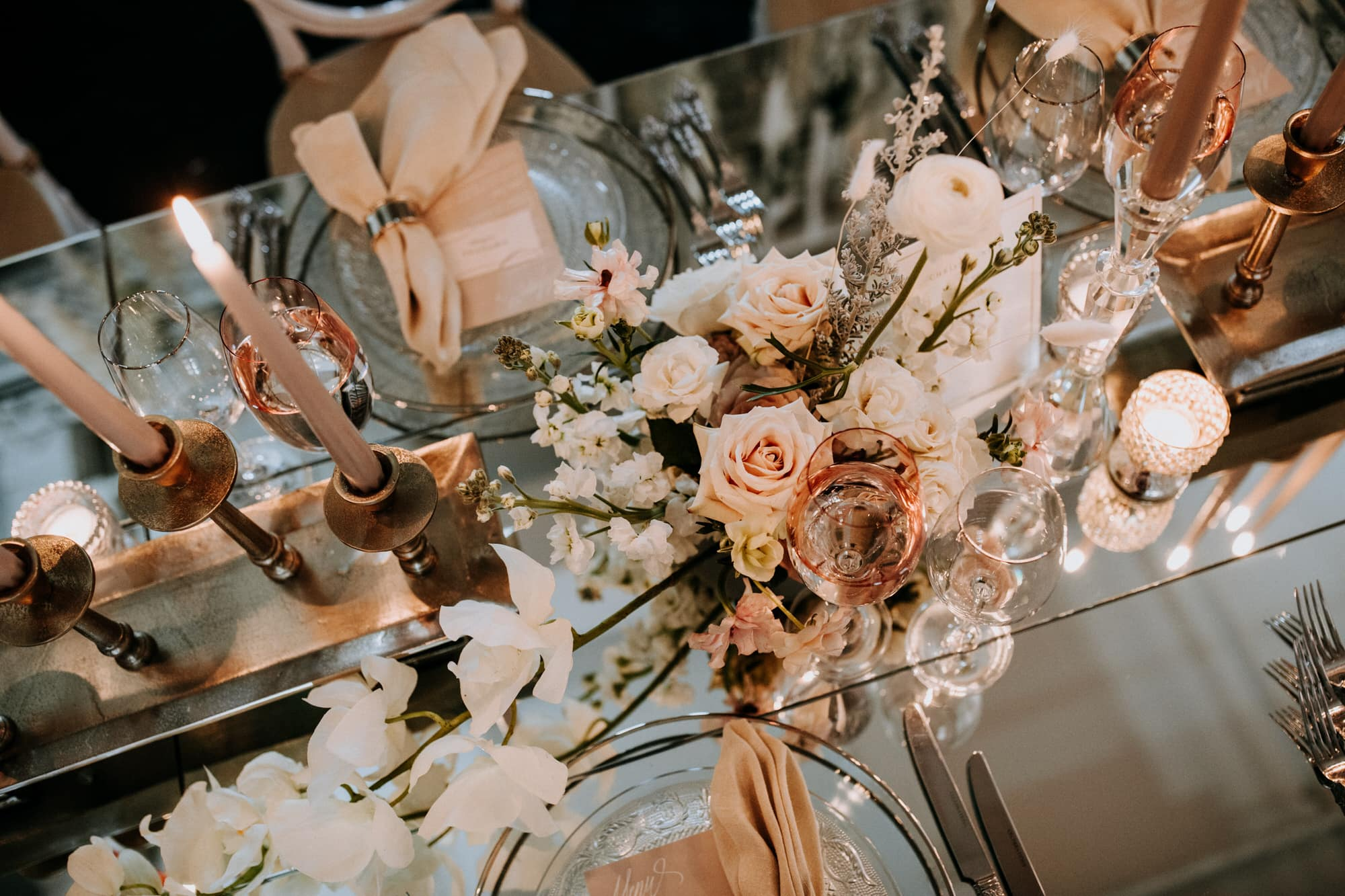 Entrepots Dominion Wedding In Montreal - Mirror table with peach decor - Wedding Photographer Brent Calis
