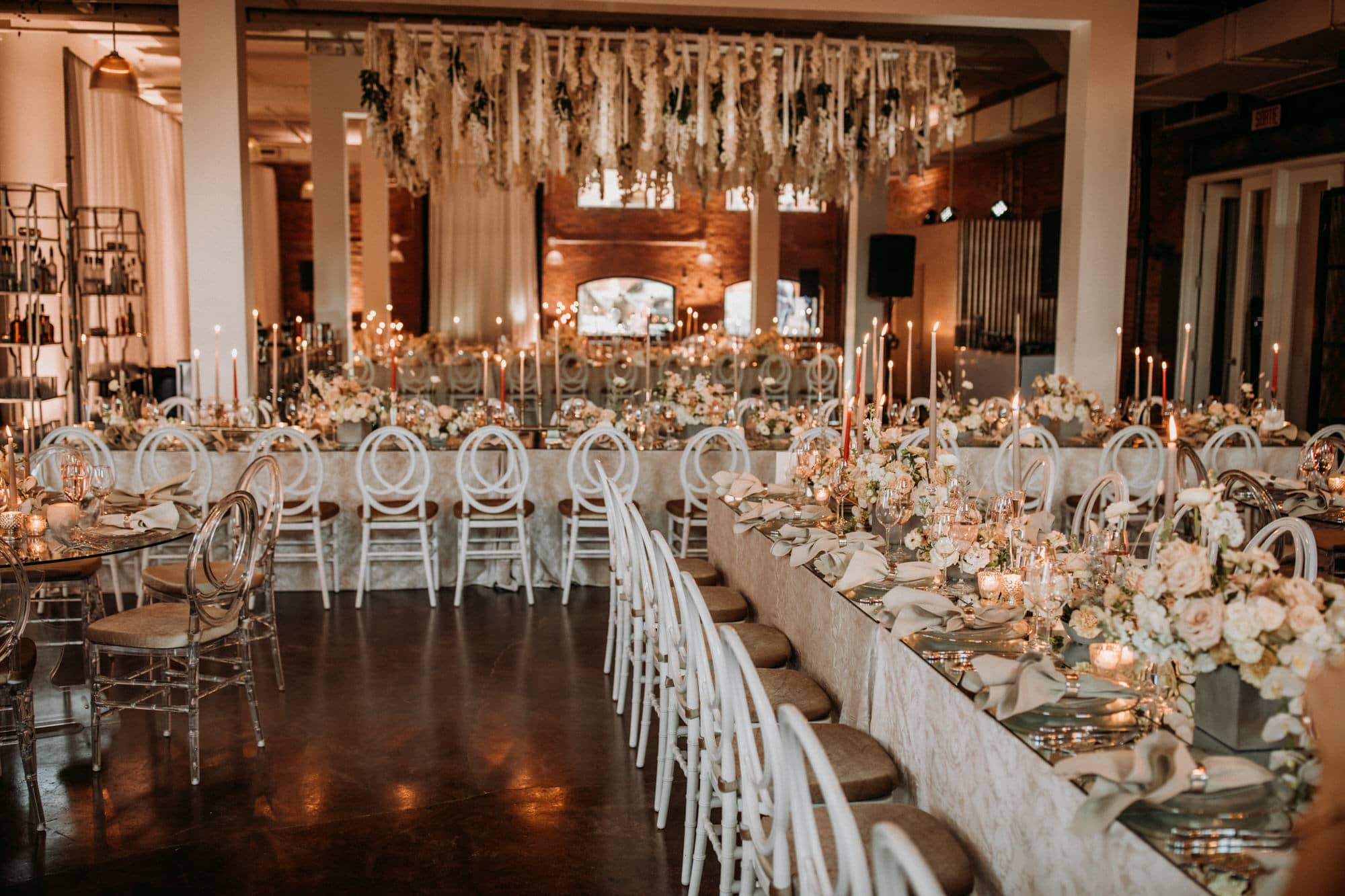 Entrepots Dominion Wedding In Montreal - Peach and white decor - Wedding Photographer Brent Calis