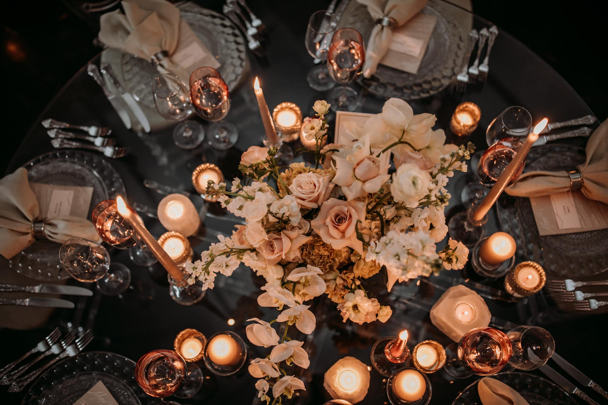 Entrepots Dominion Wedding In Montreal - Peach and black table decor - Wedding Photographer Brent Calis