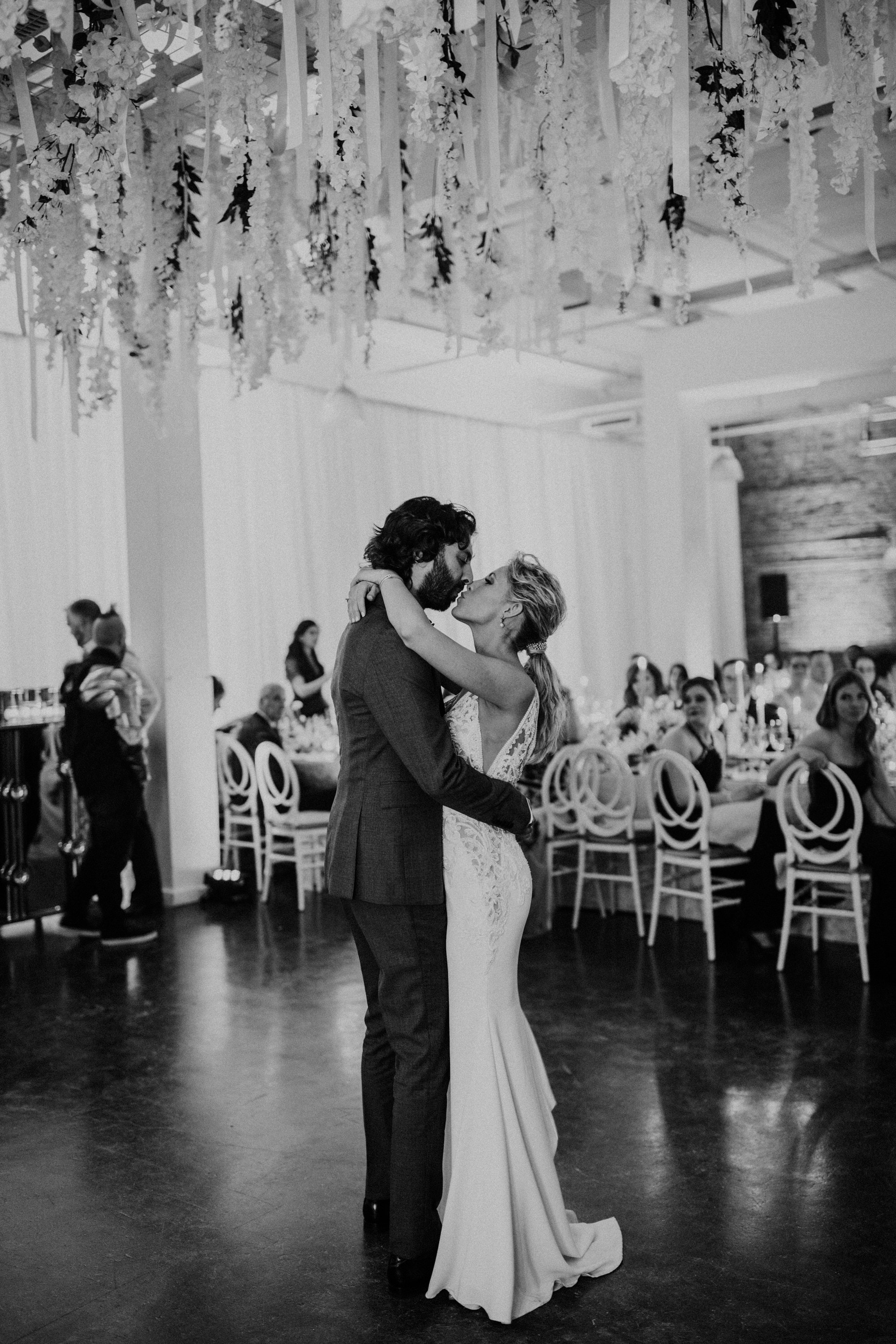 Entrepots Dominion Wedding In Montreal - First Dance Kisses - Wedding Photographer Brent Calis